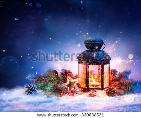Magical Lantern On Snow With Christmas Decoration  - Shutterstock ID 330836531