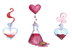magical love potions for love. illustration of Valentine's Day
