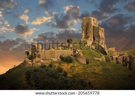 magical medieval corfe castle ruins