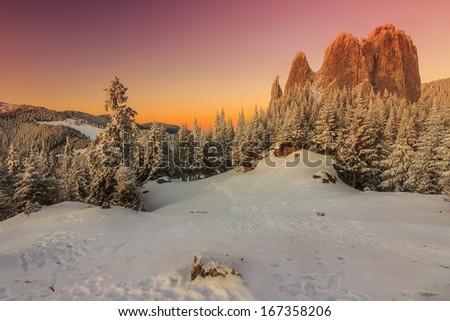 Magical panorama,winter landscape,Lonely Rock,Carpathians,Romania