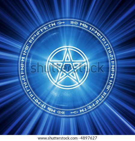 Magical pentagram icon illuminated from behind.