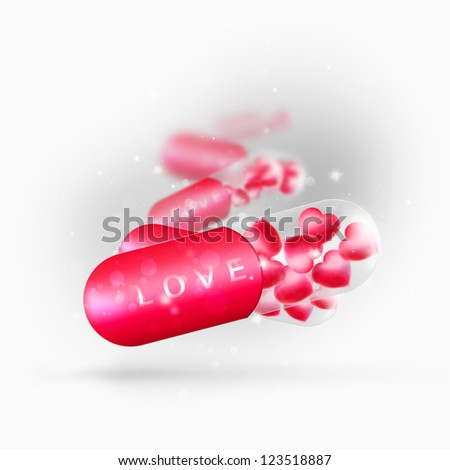 Magical pill with love medicine inside