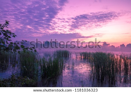 Magical purple sunrise over lake. Misty morning, rural landscape, wilderness