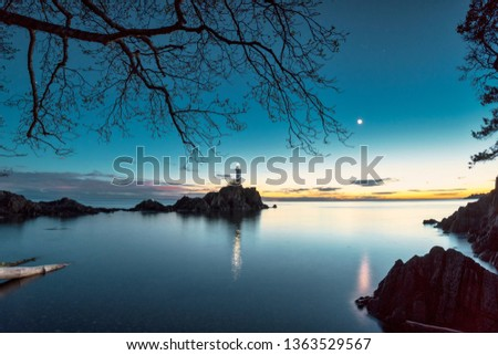 Magical scenics of rocky beaches and mountains in the Pacific North West's Bowen Island in British Columbia Canada with wild nature and pristine back country ready to hang fine art photography. #1363529567