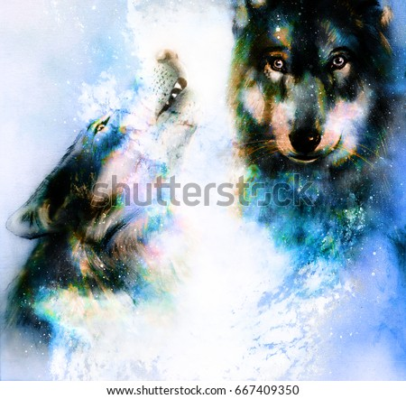 Magical space wolf, painting and graphic collage. Winter effect.