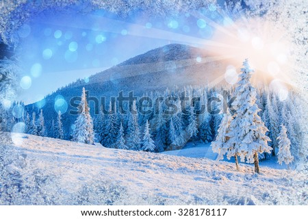 magical winter landscape,  background with some soft highlights and snow flakes