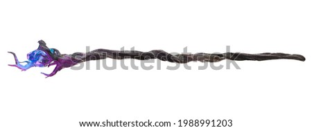 Magical wizard's staff with a glowing gemstone isolated on white. 3D Rendering, Illustration