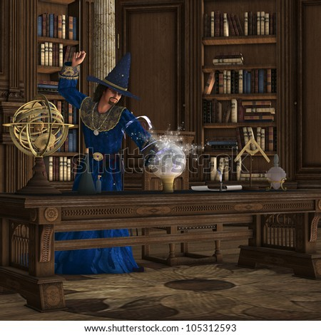 Magician 01 - A wizard makes a magic potion brew in his library full of books.