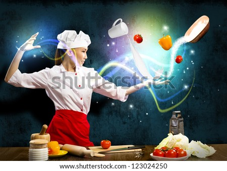 magician chef cook in the kitchen, preparing with magic