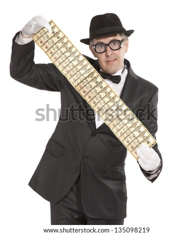 Magician. Happy businessman  with dollars. Isolated over white - stock photo