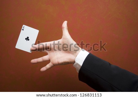 Magician make performance with card
