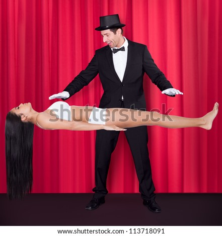 Magician Performs Magic With Beauty Girls In Mid-air