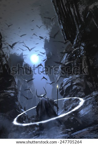 Stock Photo magician warrior with crowd of crows.digital painting
