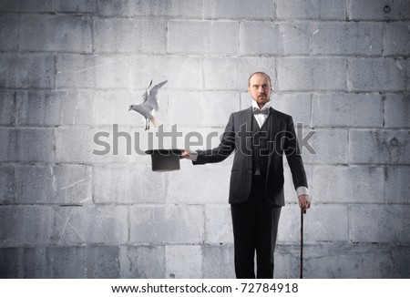 Magician with bird flying away from his cylinder hat
