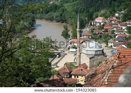 Maglaj Bosnia And Herzegovina - May 21 - Flood Natural Disaster - Jusuf Pasina Kurumlija Mosque After Flooding Natural Disaster, on May 21, 2014 in Maglaj, Bosnia