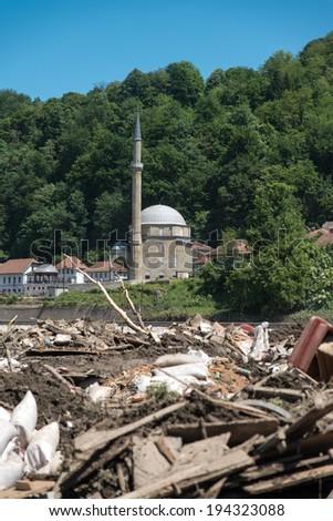 Maglaj Bosnia And Herzegovina - May 21 - Flood Natural Disaster . Jusuf Pasina Kurumlija Mosque After Flooding Natural Disaster, on May 21, 2014 in Maglaj, Bosnia