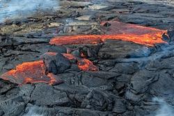 Magma in Fagradalsfjall volcanic eruption in Reykjanes peninsula around 40 kilometres from Reykjavik, Iceland
