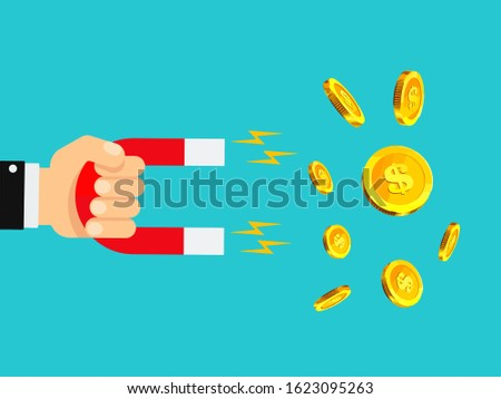 Magnet attracting Money. Financial and Investment concept. Investment attraction concept. Business success and growth illustration.