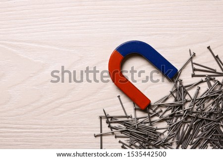 Magnet attracting nails on light wooden background, flat lay. Space for text #1535442500