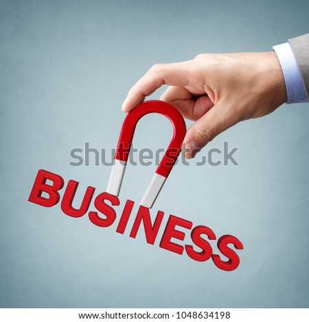 Magnet attracting new business clients and customers concept for marketing strategy #1048634198