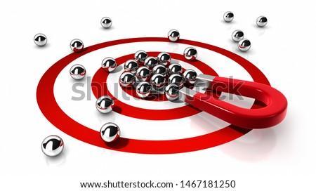 Magnet attracting steel balls - concept competition - 3D illustration Foto d'archivio ©