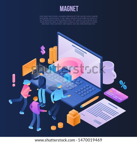 Magnet attraction concept background. Isometric illustration of magnet attraction concept background for web design