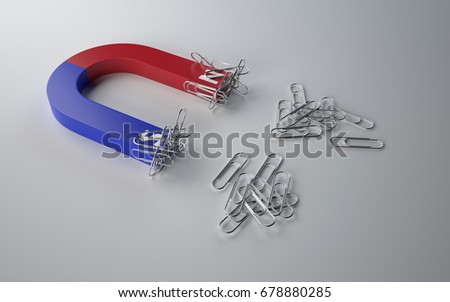 Magnet Attracts Paper Clips on white background.3D Render.