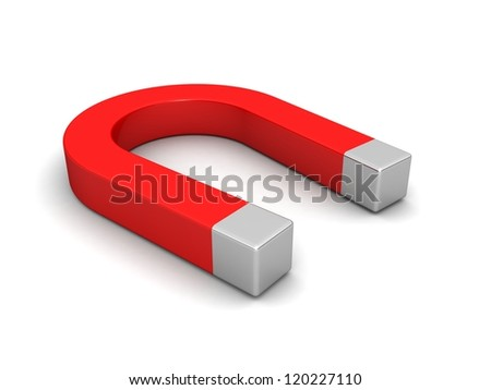Magnet Horseshoe. Red color. Isolated on white background