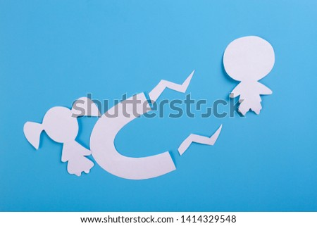 magnet is attracting love on blue background #1414329548