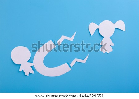 magnet is attracting love on blue background #1414329551