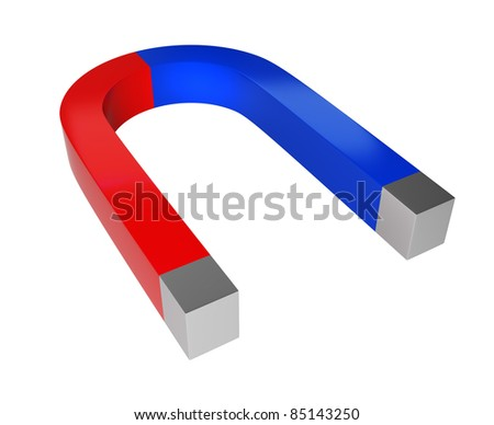 Magnet the metal bent. 3d image. Isolated white background.