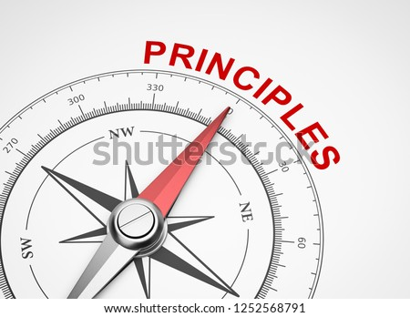 Magnetic Compass with Needle Pointing Red Principles Word on White Background 3D Illustration Сток-фото ©