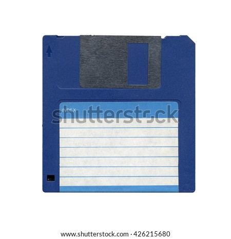 Magnetic diskette for personal computer data storage aka floppy disk isolated over white