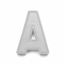 Magnetic lowercase letter A of the British alphabet in black and white