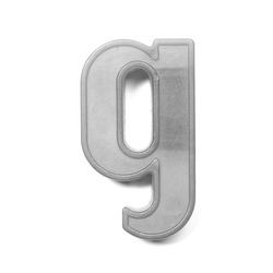 Magnetic lowercase letter G of the British alphabet in black and white
