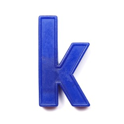 Magnetic lowercase letter K of the British alphabet