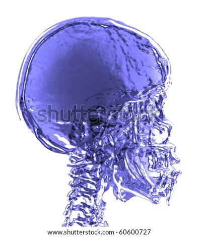 magnetic resonance (MR) 3d blue skull