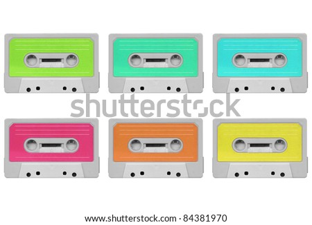 Magnetic tape cassette for audio music recording collage - isolated over white background