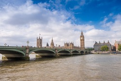 Magnificence of Westminster Bridge and Houses of Parliament, London.