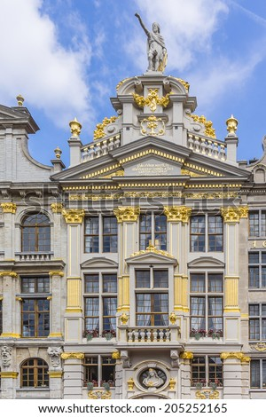 Magnificent ancient houses of the famous Grand Place (Grote Markt) - the central square of Brussels. Grand Place was named by UNESCO as a World Heritage Site in 1998.