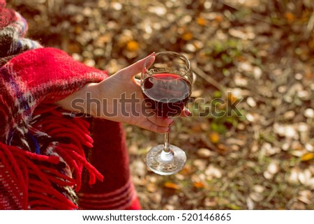 Magnificent color of the wine in glass