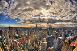Magnificent colorful view of the skyline of New York City with all the famous skyscrapers in high dynamic range (HDR) through fisheye lens on sunny day
