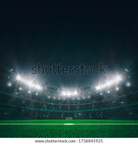 Magnificent football stadium full of spectators expecting an evening match on the grass field. Front view from the center circle. Sport category 3D illustration.