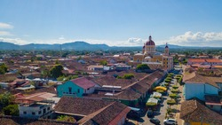 Magnificent Granada's central park seen from the sky, in Nicaragua