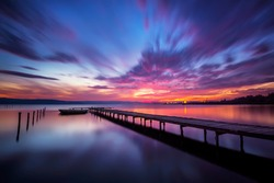Magnificent long exposure lake sunset