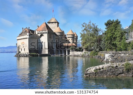 Magnificent medieval castle Chillon on Lake Geneva. Excellent sunny day
