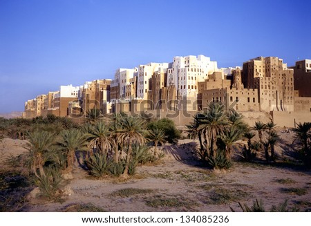 Magnificent morning light at the skyscrapers of the city of Shibam in Yemen. This city is situated in the middle of the Hadramaut valley, which is an UNESCO World Heritage site.