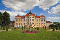Magnificent palace and residence, the pearl of Greater Poland in Rogalin. View from the wonderful, the French garden.