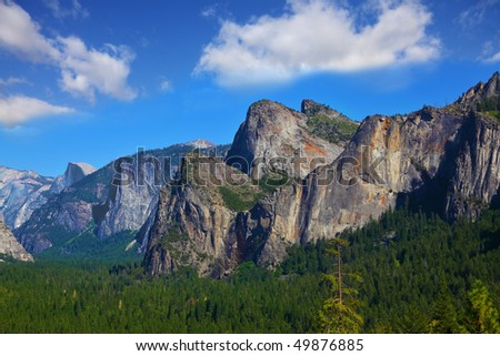 Magnificent panorama of mountains and woods of national park Yosemite, California