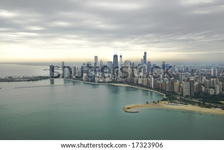 Magnificent photo of Chicago's skyline with overcast sky - stock photo